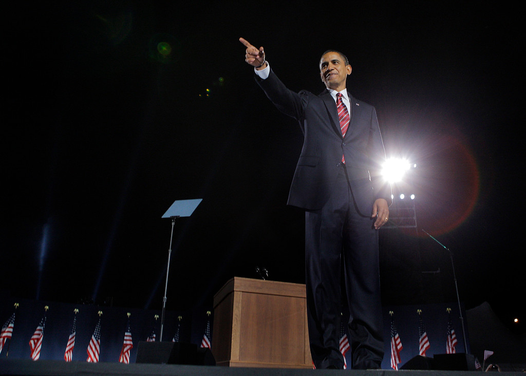. President-elect Barack Obama celebrates at the election night rally in Chicago, Tuesday, Nov. 4, 2008. (AP Photo/Jae C. Hong)