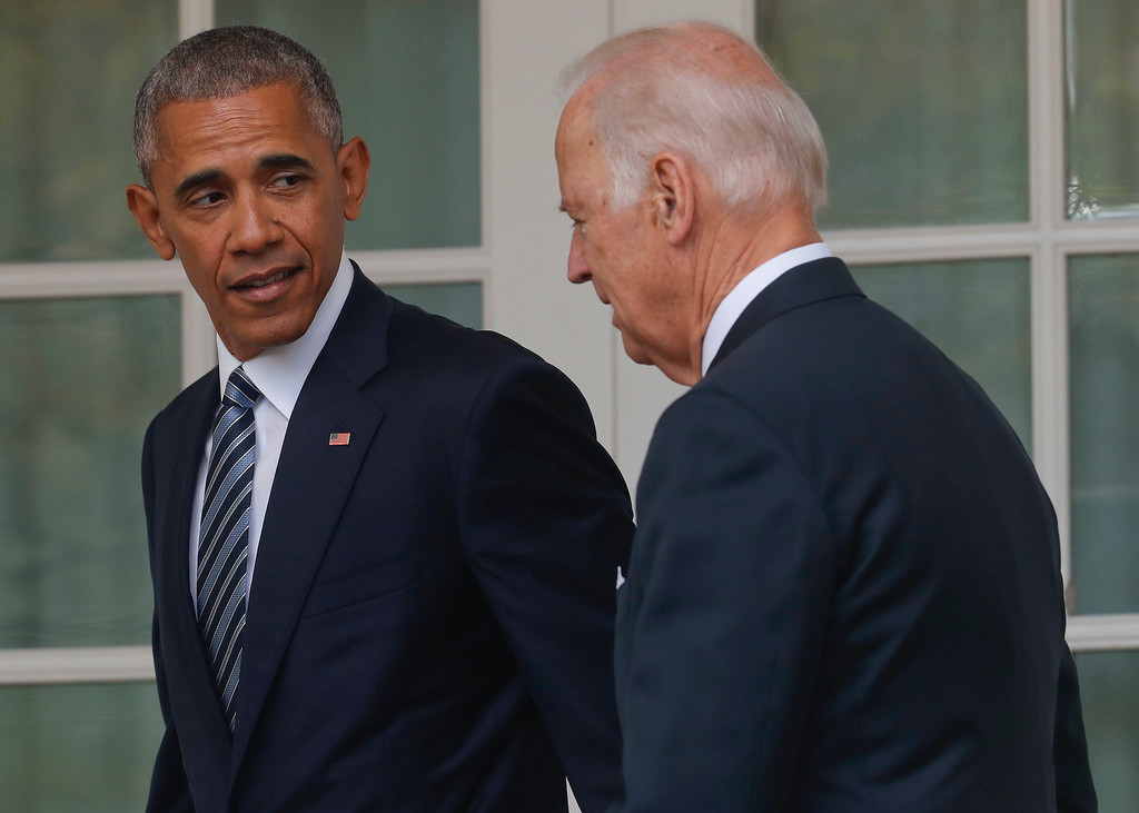 . FILE - In this Nov. 9, 2016, file photo, President Barack Obama, accompanied by Vice President Joe Biden, walks back to the Oval Office of the White House in Washington, after speaking about the election in the Rose Garden. The potential awkwardness surrounding the transition from Democratic President Barack Obama�s administration to one led by Republican President-elect Donald Trump has prompted the internet to imagine some amusing chats between Obama and Vice President Joe Biden.(AP Photo/Pablo Martinez Monsivais, File)