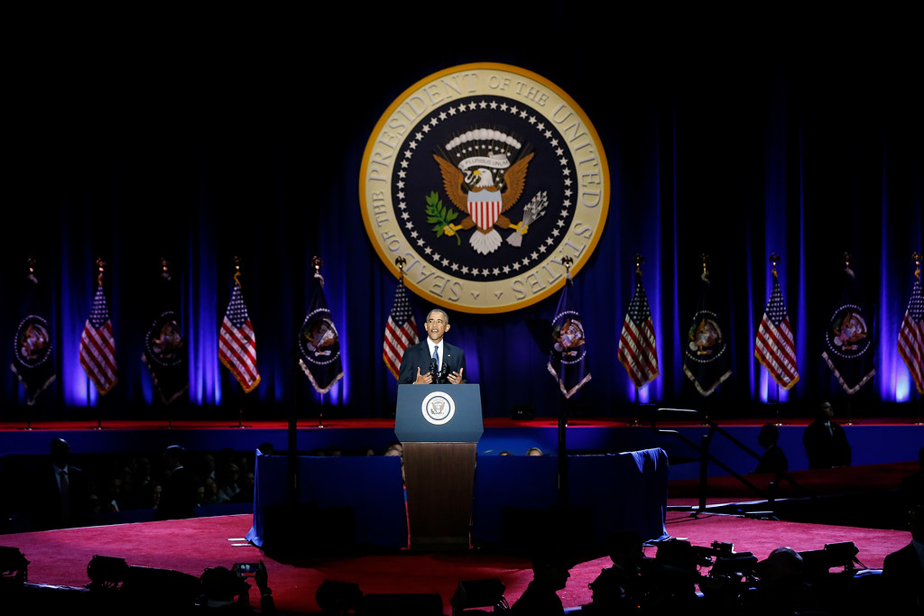 . President Barack Obama speaks at McCormick Place in Chicago, Tuesday, Jan. 10, 2017, giving his presidential farewell address. (AP Photo/Charles Rex Arbogast)