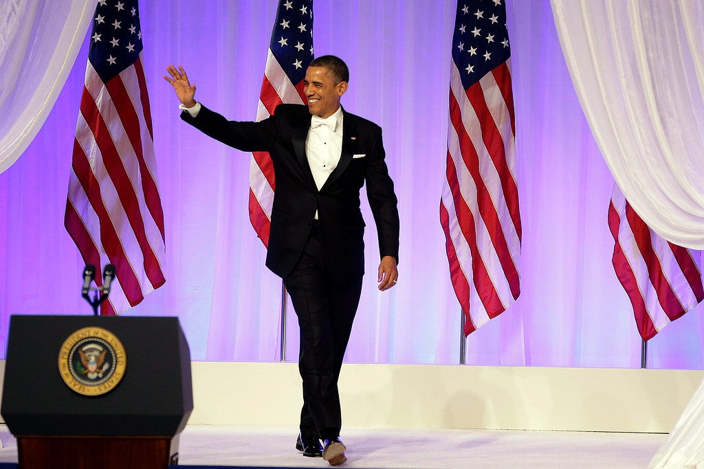 . President Barack Obama arrives at the Commander-in-Chief\'s Inaugural Ball in Washington, at the Washington Convention Center during the 57th Presidential Inauguration on Monday, Jan. 21, 2013. (AP Photo/Jacquelyn Martin)