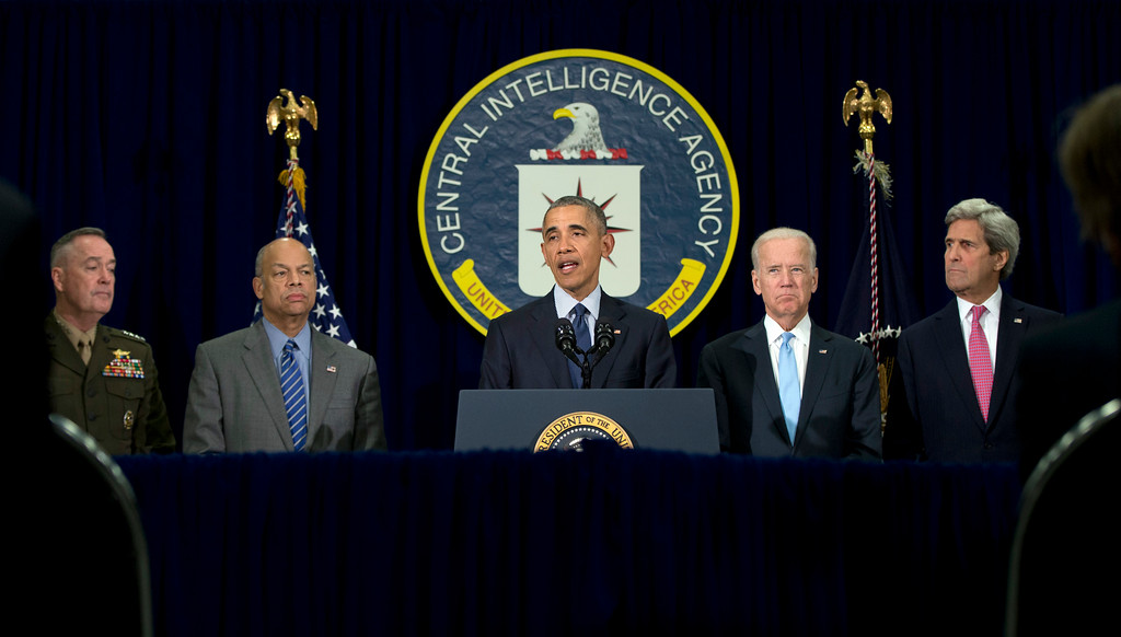 . President Barack Obama, joined by from left,  Joint Chiefs Chairman Gen. Joseph Dunford, Homeland Security Secretary Jeh Johnson, Vice President Joe Biden, and Secretary of State John Kerry speaks at the CIA Headquarters in Langley, Va., Wednesday, April 13, 2016, after a meeting with his National Security Council. Obama pays a rare visit to CIA headquarters as the United States weighs sending more forces to Iraq to fight the Islamic State group. (AP Photo/Carolyn Kaster)