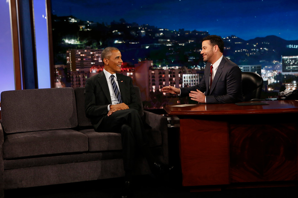 ". This photo provided by ABC shows guest, President Barack Obama, left, and host Jimmy Kimmel during the taping of the television show, ""Jimmy Kimmel Live!,\"" in the Hollywood section of Los Angeles, Monday, Oct. 24, 2016. The show airs every weeknight at 11:35 p.m. EST. (Randy Holmes/ABC via AP)"