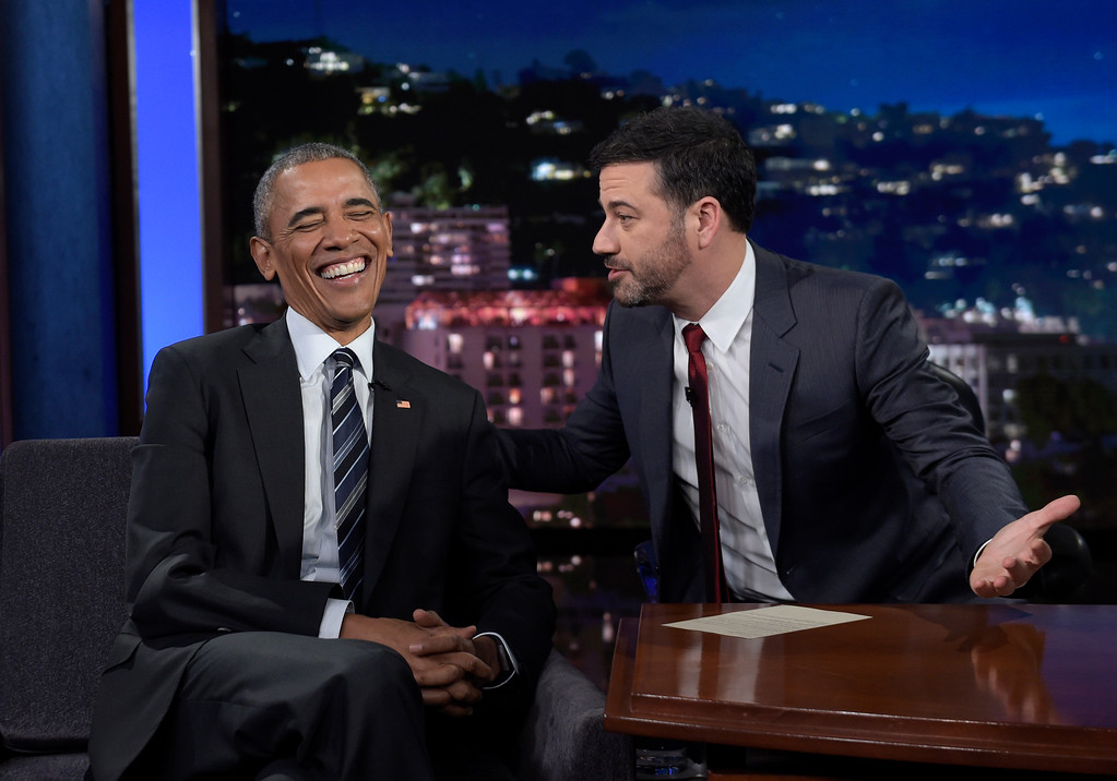 . President Barack Obama talks with Jimmy Kimmel in between taping segments of Jimmy Kimmel Live! at the El Capitan Entertainment Center in Los Angeles, Monday, Oct. 24, 2016. From his campaign fist bump to his theatrical mic drop at the last White House correspondents� dinner, Barack Obama ruled as America�s pop culture president. His two terms played out like a running chronicle of the trends of our times: slow-jamming the news with Jimmy Fallon, reading mean tweets with Jimmy Kimmel, filling out his NCAA basketball bracket on ESPN, cruising with Jerry Seinfeld on �Comedians in Cars Getting Coffee.� (AP Photo/Susan Walsh)