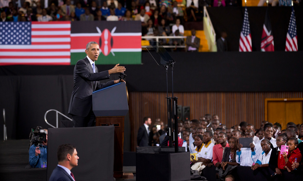 . President Barack Obama delivers a speech at the Safaricom Indoor Arena in the Kasarani area of Nairobi, Kenya Sunday, July 26, 2015. Obama is traveling on a two-nation African tour where he will become the first sitting U.S. president to visit Kenya and Ethiopia. (AP Photo/Ben Curtis)