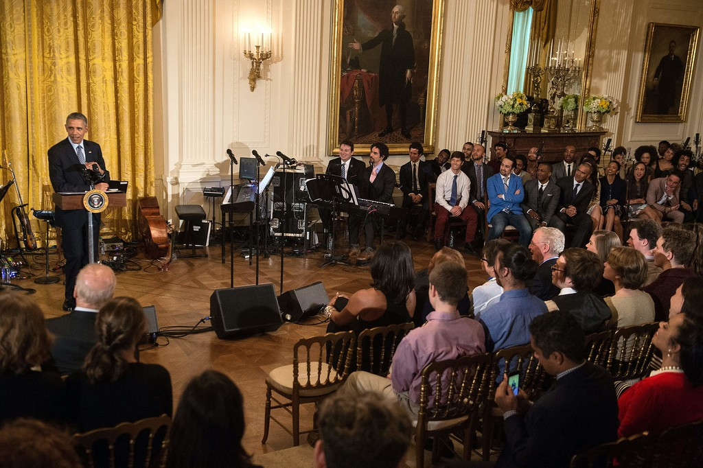 . US President Barack Obama speaks in the East Room of the White House before a performance of the musical Hamilton in Washington, DC, on March 14, 2016. (NICHOLAS KAMM/AFP/Getty Images)