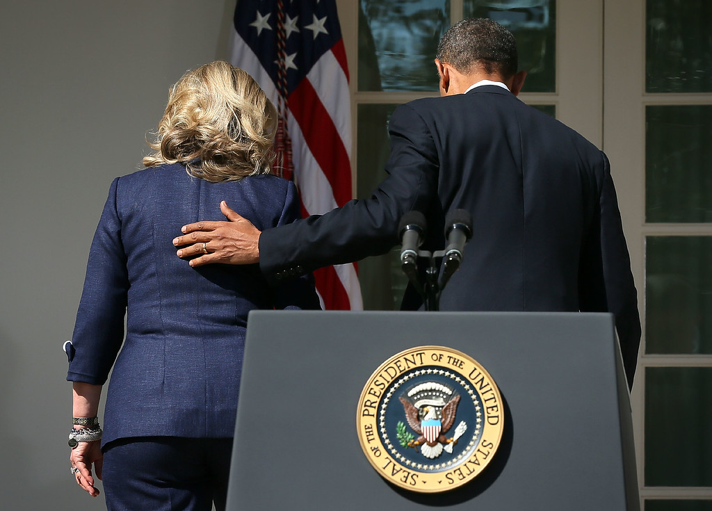 . WASHINGTON, DC - SEPTEMBER 12:  U.S. President Barack Obama (R) and Secretary of State Hillary Clinton (L) leave after a statement in response to the attack at the U.S. Consulate in Libya September 12, 2012 at the Rose Garden of the White House in Washington, DC. U.S. Ambassador J. Christopher Stevens and three other Americans were killed in an attack on the U.S. Consulate in Benghazi, Libya by protesters who were potentially angry over a controversial Prophet Muhammad video.  (Photo by Alex Wong/Getty Images)