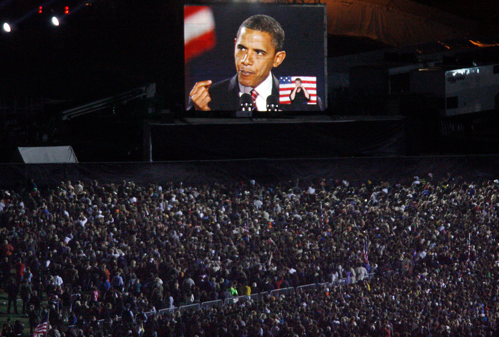 . President-elect Barack Obama, speaks during the election party at the Grant Park in Chicago, Tuesday, Nov. 4, 2008. (AP Photo/Nam Y. Huh)