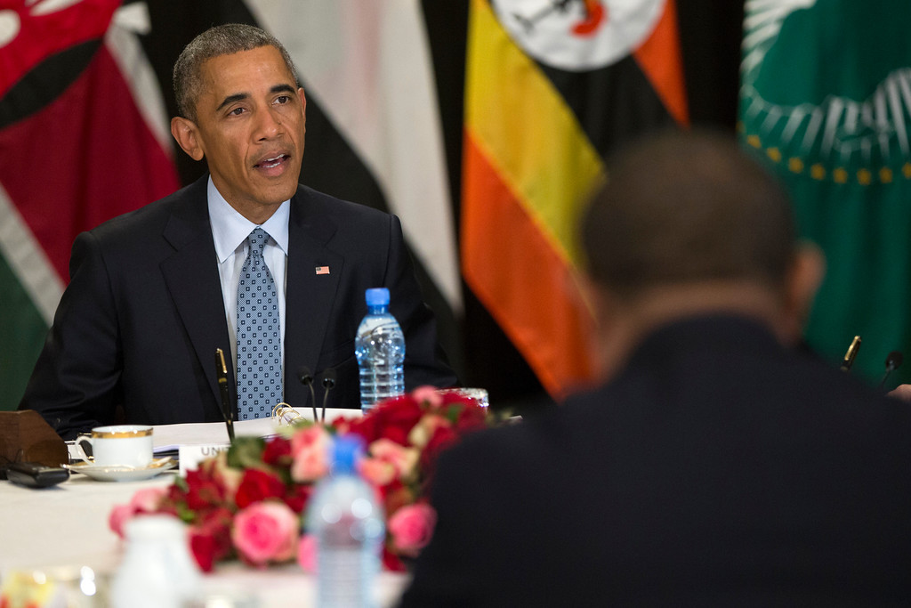. President Barack Obama speaks during a multilateral meeting on South Sudan and cointerterrorism issues with Kenya, Sudan, Ethiopia, the African Union and Uganda, Monday, July 27, 2015, in Addis Ababa. Obama is the first sitting U.S. president to visit Ethiopia. (AP Photo/Evan Vucci)