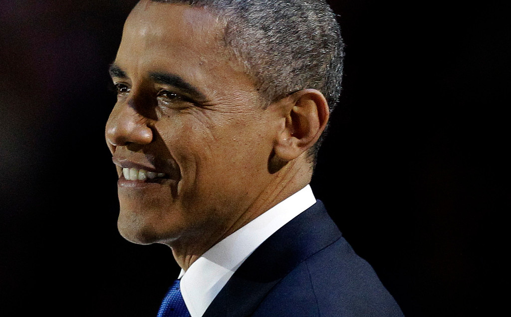 . President Barack Obama smiles during his speech at his election night party Wednesday, Nov. 7, 2012, in Chicago. President Obama defeated Republican challenger former Massachusetts Gov. Mitt Romney. (AP Photo/M. Spencer Green)