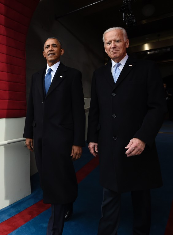 . US President Barack Obama and Vice President Joe Biden arrive for the Presidential Inauguration of Donald Trump at the US Capitol in Washington, DC, on January 20, 2017. (SAUL LOEB/AFP/Getty Images)