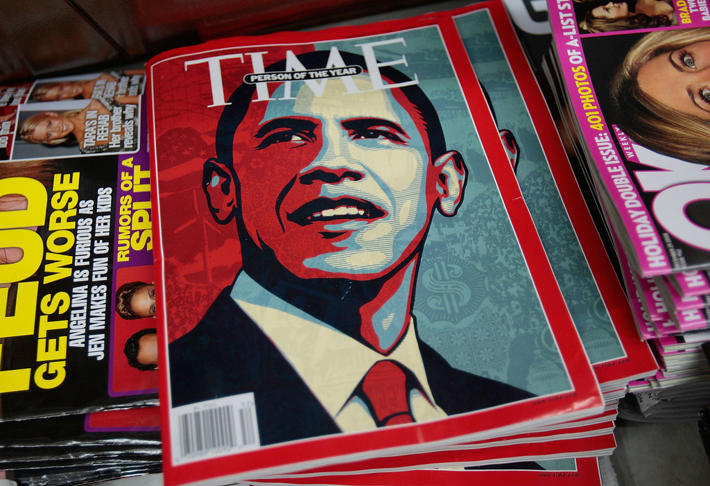. NEW YORK - DECEMBER 19:  The Time magazine naming Barack Obama as Person of the Year sits at a news stand December 19, 2008 in New York City.   (Photo by Chris Hondros/Getty Images)