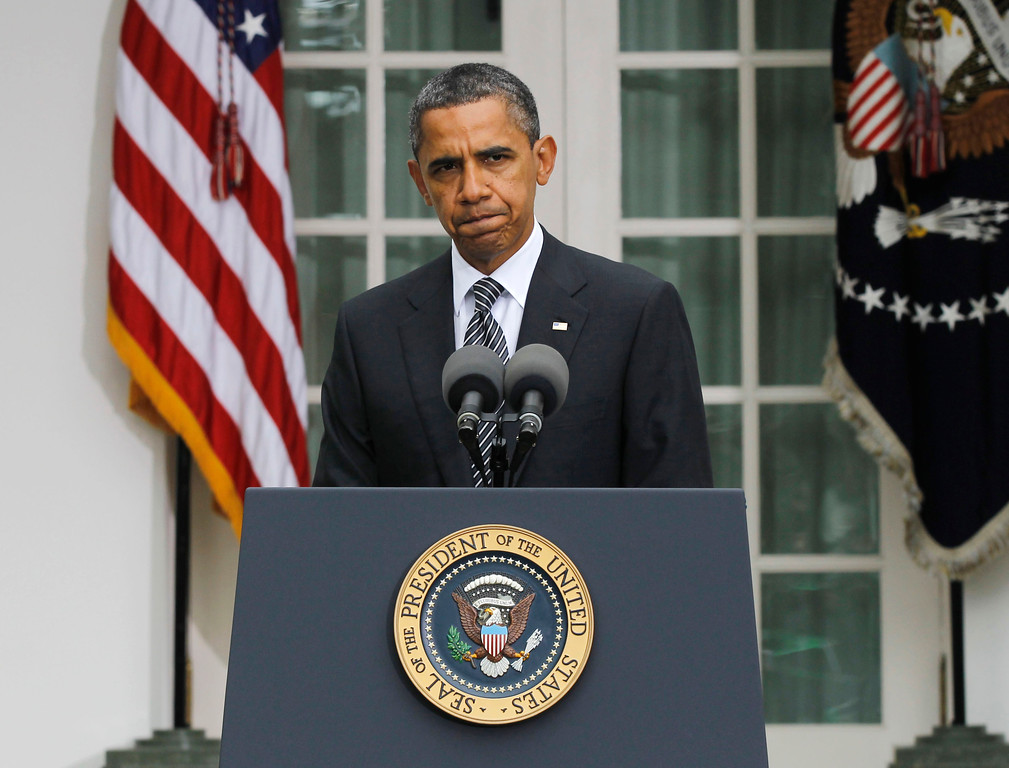 . President Barack Obama speaks in the Rose Garden of the White House in Washington, Thursday, Oct. 20,2011, 	to discuss the death of Libyan leader Moammar Gadhafi.  (AP Photo/Pablo Martinez Monsivais