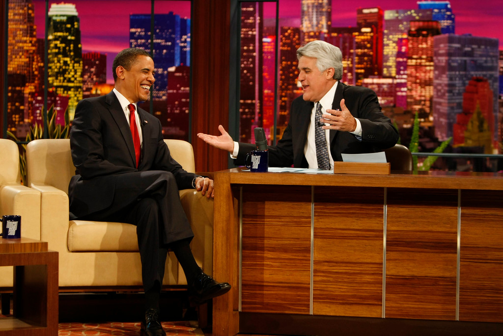 ". President Barack Obama, left, appears on The Tonight Show with Jay Leno in Burbank, Calif. Thursday, March 19, 2009.  Obama became the first sitting president to appear on ""The Tonight Show\"" (AP Photo/Gerald Herbert)"