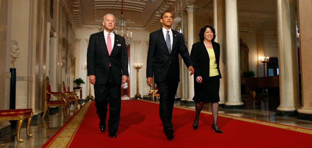 . President Barack Obama and Vice President Joe Biden walk to the East Room of the White House in Washington, Tuesday, May 26, 2009, with his Supreme Court choice Sonia Sotomayor before the president made the announcement. (AP Photo/Pablo Martinez Monsivais)