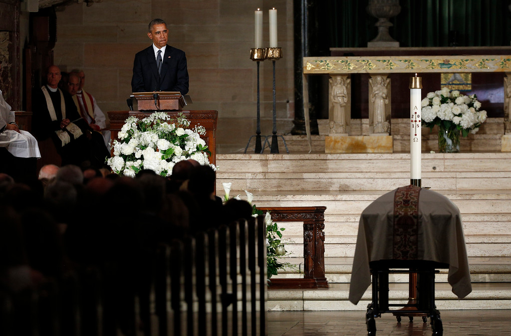 . President Barack Obama pauses while delivering the eulogy in honor of former Delaware Attorney General Beau Biden, Saturday, June 6, 2015, at St. Anthony of Padua Church in Wilmington, Del. Biden, Vice President Joe Biden\'s eldest son, died at the age of 46 after a battle with brain cancer. (Kevin Lamarque/Pool Photo via AP)
