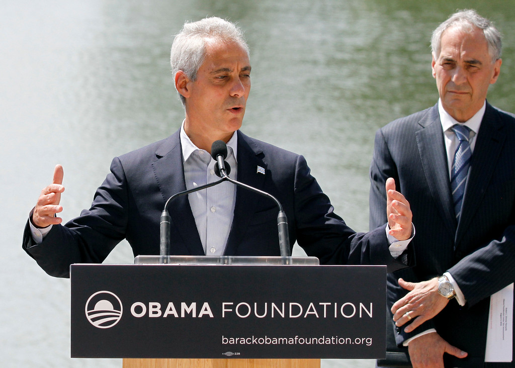 . Mayor Rahm Emanuel, left, is accompanied by Robert J. Zimmer, president of University of Chicago at a news conference Wednesday, Aug. 3, 2016, in Chicago. The Obama Foundation officially announced Jackson Park on the city\'s South Side as the site of the Obama Presidential Center. (AP Photo/Tae-Gyun Kim)