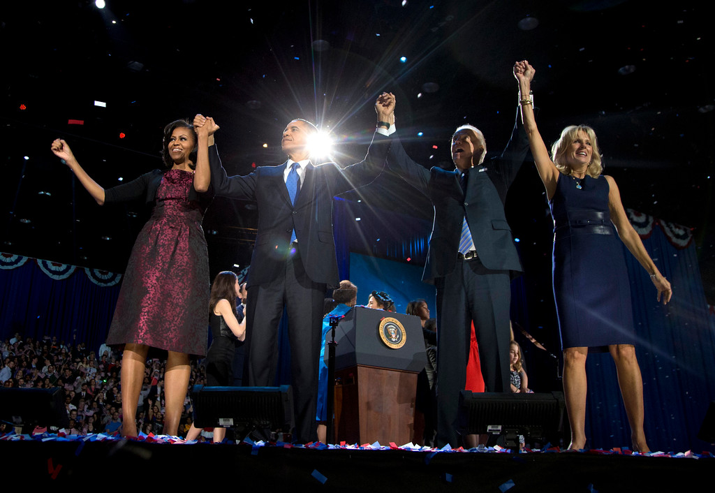 . President Barack Obama, first lady Michelle Obama, Vice President Joe Biden and Jill Biden acknowledge the crowd at his election night party Wednesday, Nov. 7, 2012, in Chicago. President Obama defeated Republican challenger former Massachusetts Gov. Mitt Romney. (AP Photo/Carolyn Kaster)