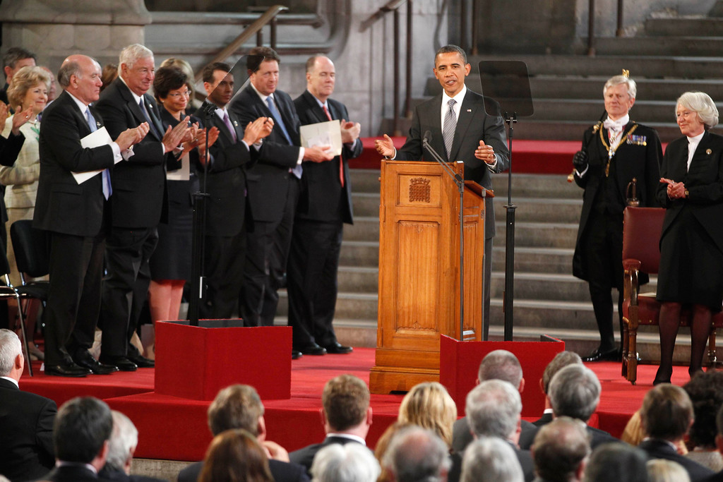 . President Barack Obama addresses the British Parliament at Westminster Hall in London, Wednesday, May 25, 2011. Obama was granted the honor of being the first U.S. president to speak from the grand setting of Westminster Hall, and he received a deeply friendly welcome.  (AP Photo/Charles Dharapak)