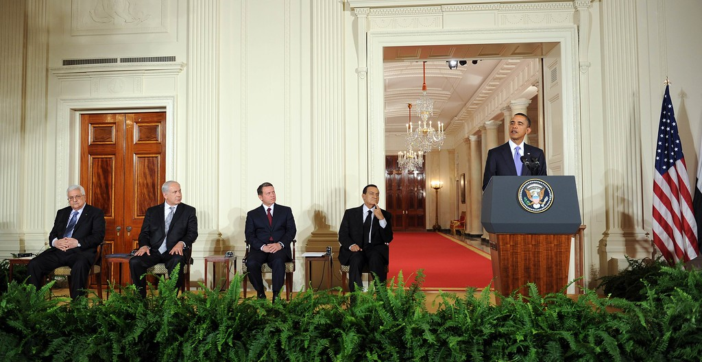 . US President Barack Obama (R) speaks as (L-R) Palestinian Authority President Mahmoud Abbas, Israeli Prime Minister Benjamin Netanyahu, King Abdullah II of Jordan, and Egyptian President Hosni Mubarak listen during an event in the East Room to make statements on the peace process on September 1, 2010 at the White House in Washington, DC.   (TIM SLOAN/AFP/GettyImages)