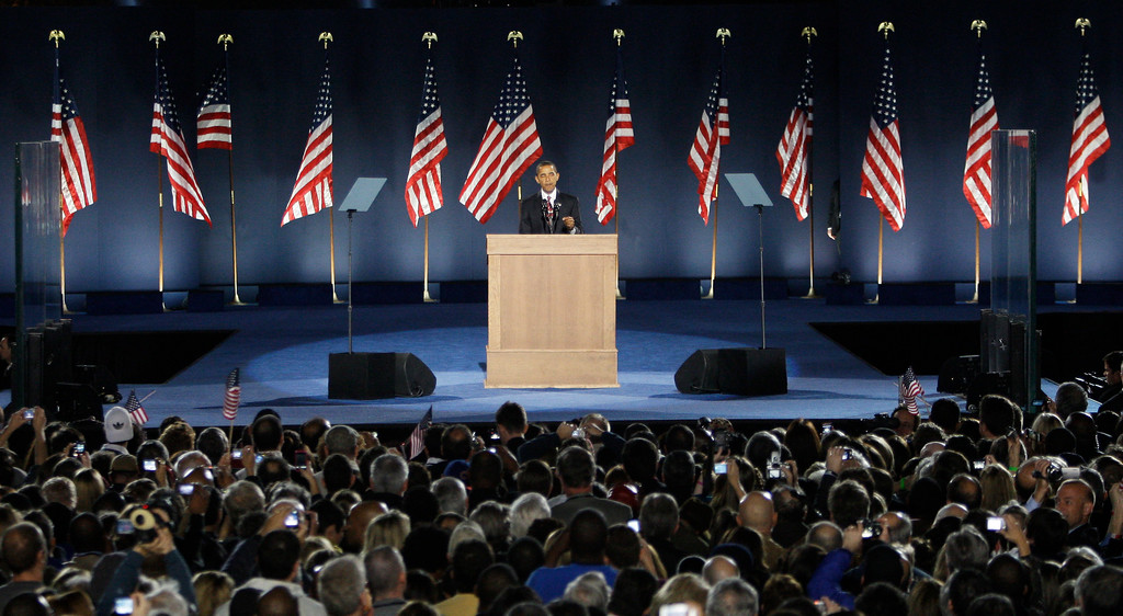 . President-elect Barack Obama gives his acceptance speech at Grant Park in Chicago Tuesday night, Nov. 4, 2008. (AP Photo/Morry Gash)