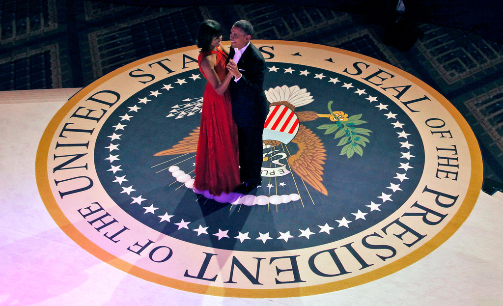 . President Barack Obama and first lady Michelle Obama dance at the Commander-in-Chief\'s Inaugural Ball in Washington, at the Washington Convention Center during the 57th Presidential Inauguration Monday, Jan. 21, 2013. (AP Photo/Pablo Martinez Monsivais)
