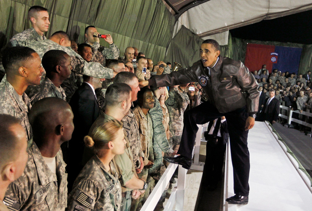 . President Barack Obama rallies troops at Bagram Air Base in Afghanistan, Sunday, March 28, 2010. (AP Photo/Charles Dharapak)