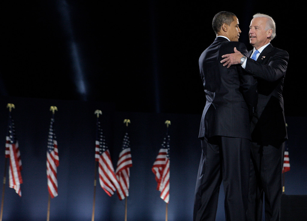. President-elect Barack Obama, left, and Vice President-elect Joe Biden hug after Obama\'s acceptance speech at the election night rally in Chicago, Tuesday, Nov. 4, 2008. (AP Photo/Jae C. Hong)