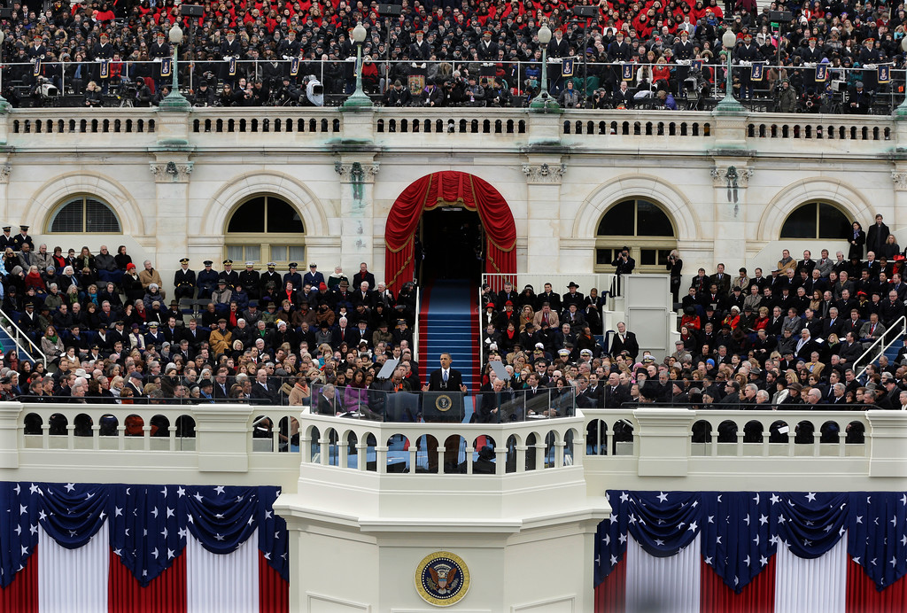 . President Barack Obama speaks at the ceremonial swearing-in at the U.S. Capitol during the 57th Presidential Inauguration in Washington, Monday, Jan. 21, 2013. (AP Photo/Pablo Martinez Monsivais)