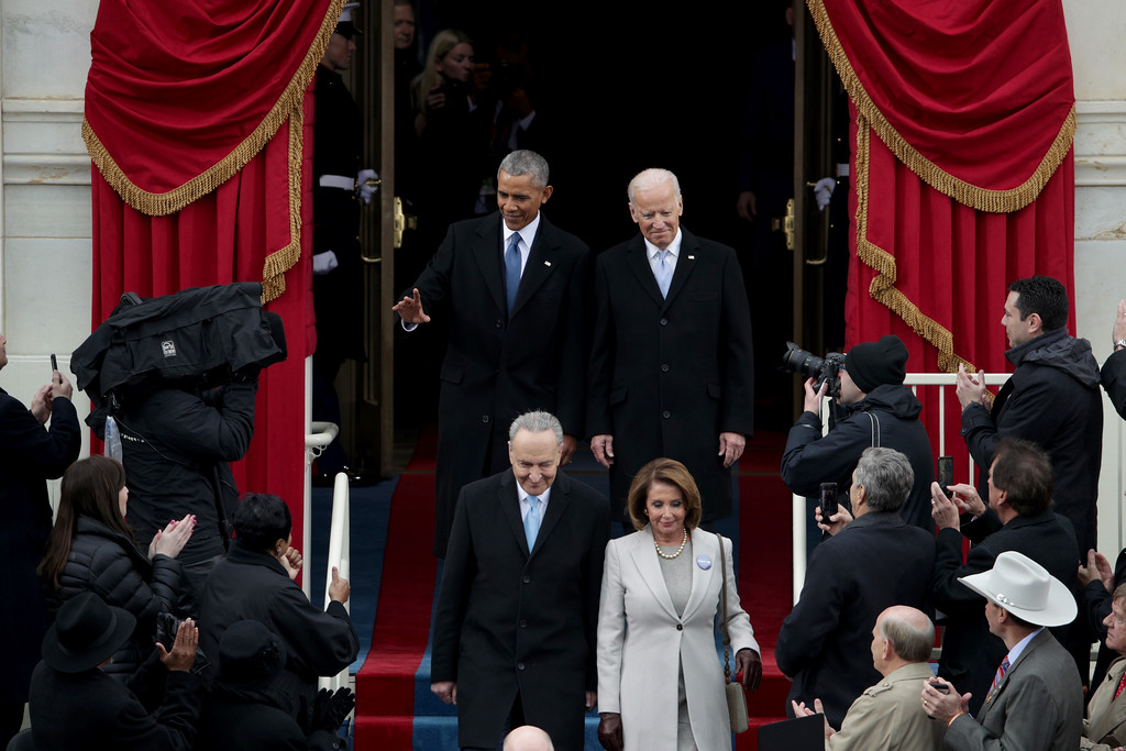 . WASHINGTON, DC - JANUARY 20:  President Barack Obama, Sen. Chuck Schumer (D-NY), Rep. Nancy Pelosi (D-CA) and Vice President Joe Biden arrive on the West Front of the U.S. Capitol on January 20, 2017 in Washington, DC. In today\'s inauguration ceremony Donald J. Trump becomes the 45th president of the United States.  (Photo by Alex Wong/Getty Images)