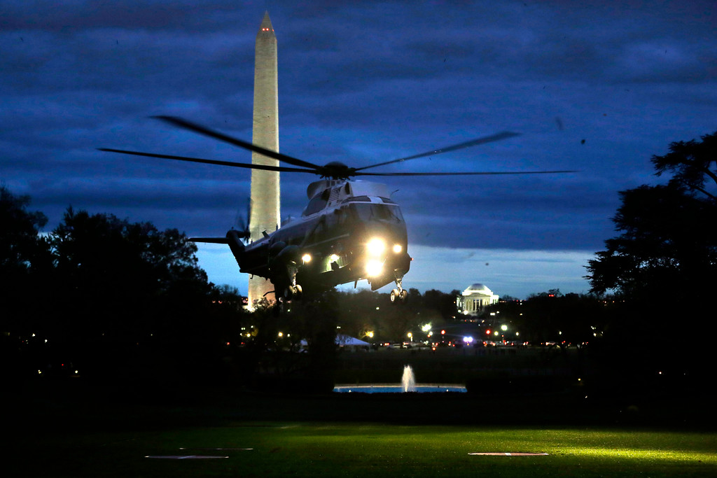 . The Marine One helicopter carrying President Barack Obama lands on the South Lawn of the White House in Washington, on Wednesday, Oct. 31, 2012, after the President toured superstorm Sandy damage in New Jersey. (AP Photo/Jacquelyn Martin)