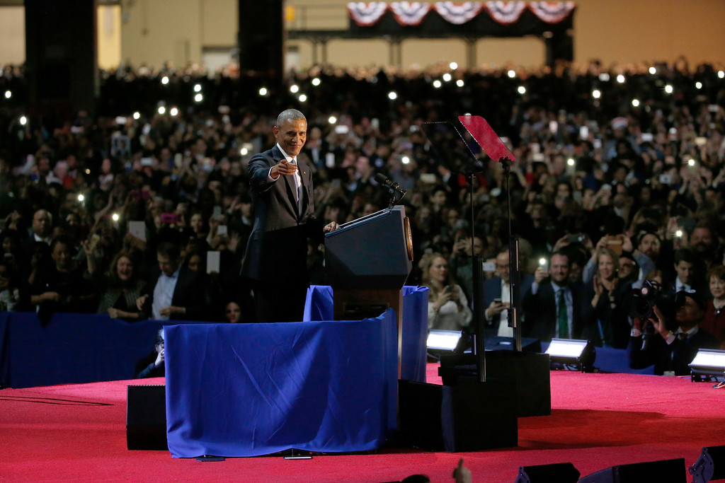 . President Barack Obama speaks at McCormick Place in Chicago, Tuesday, Jan. 10, 2017, giving his presidential farewell address. (AP Photo/Nam Y. Huh)
