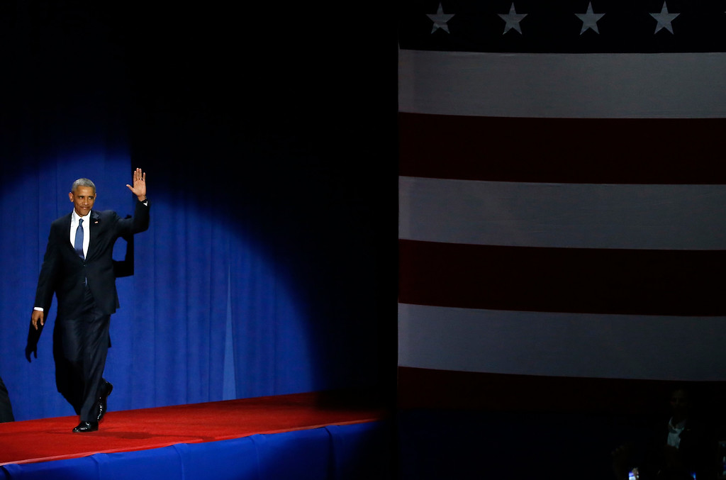 . President Barack Obama arrives before speakking at McCormick Place in Chicago, Tuesday, Jan. 10, 2017, giving his presidential farewell address. (AP Photo/Charles Rex Arbogast)