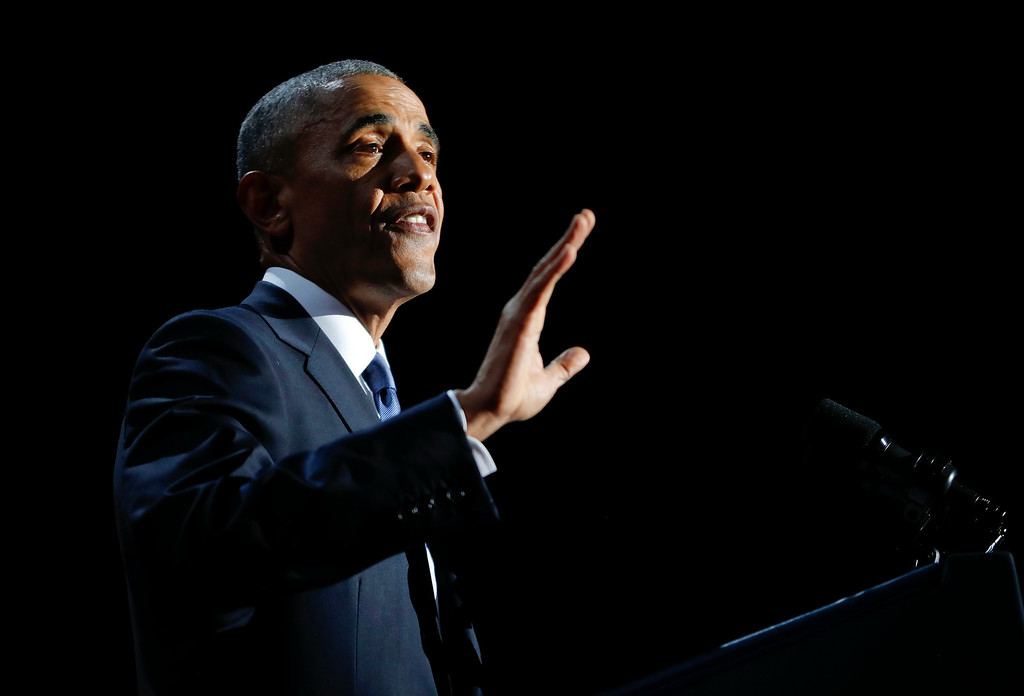 . President Barack Obama speaks during his farewell address at McCormick Place in Chicago, Tuesday, Jan. 10, 2017. (AP Photo/Pablo Martinez Monsivais)