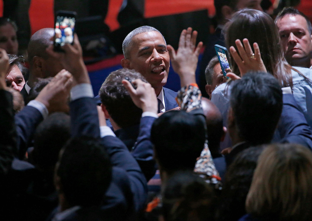 . President Barack Obama talks to his supporters after giving his presidential farewell address at McCormick Place in Chicago, Tuesday, Jan. 10, 2017. (AP Photo/Nam Y. Huh)