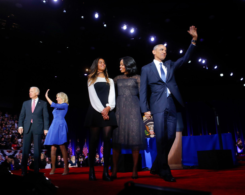 . President Barack Obama on stage with first lady Michelle Obama, daughter Malia, Vice President Joe Biden and his wife Jill Biden after his farewell address at McCormick Place in Chicago, Tuesday, Jan. 10, 2017. (AP Photo/Pablo Martinez Monsivais)