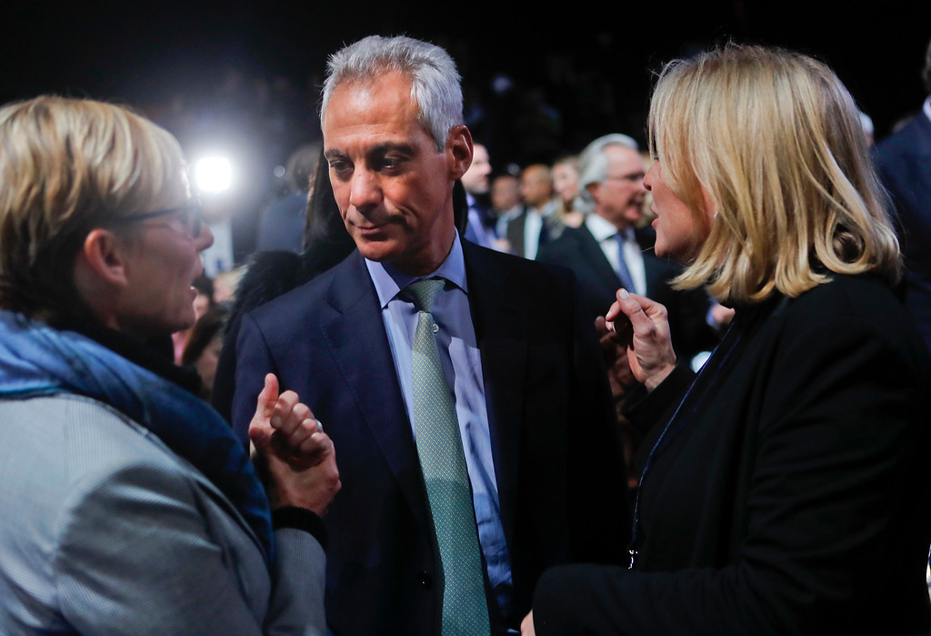 . Chicago Mayor Rahm Emanuel talks before President Barack Obama gives a farewell address at McCormick Place in Chicago, Tuesday, Jan. 10, 2017. (AP Photo/Pablo Martinez Monsivais)