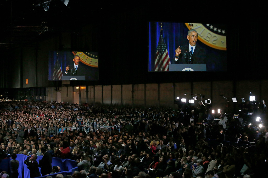 . Supporters listen as President Barack Obama speaks at McCormick Place in Chicago, Tuesday, Jan. 10, 2017, giving his presidential farewell address. (AP Photo/Nam Y. Huh)