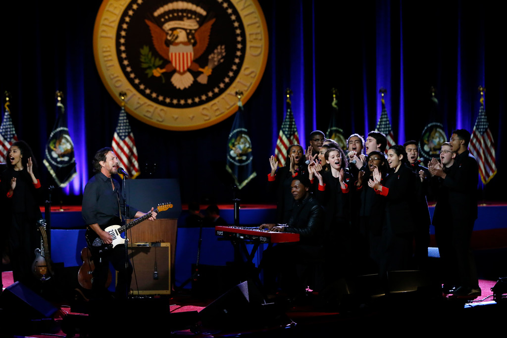 . Singer Eddie Vedder performs before President Barack Obama gives his presidential farewell address at McCormick Place in Chicago, Tuesday, Jan. 10, 2017. (AP Photo/Charles Rex Arbogast)