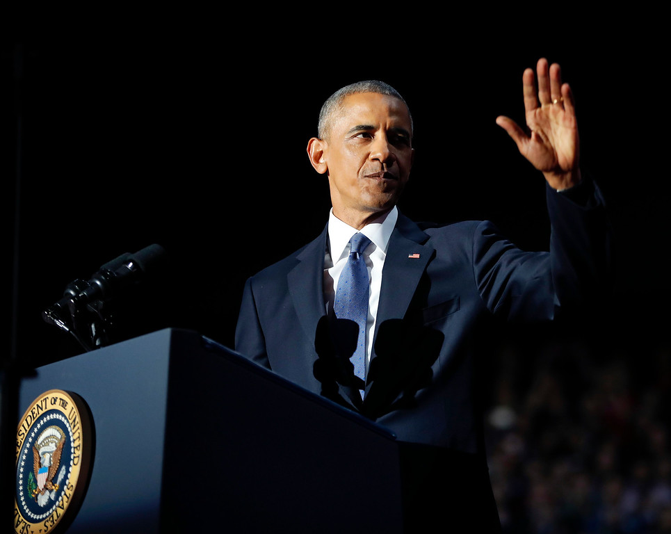 . President Barack Obama waves as he speaks during his farewell address at McCormick Place in Chicago, Tuesday, Jan. 10, 2017. (AP Photo/Pablo Martinez Monsivais)
