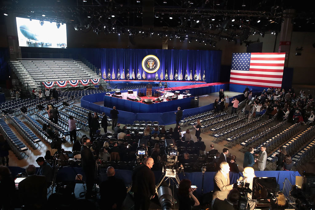 . CHICAGO, IL - JANUARY 10: People start arriving to hear President Barack Obama deliver a farewell speech to the nation on January 10, 2017 in Chicago, Illinois. President-elect Donald Trump will be sworn in the as the 45th president on January 20.  (Photo by Scott Olson/Getty Images)