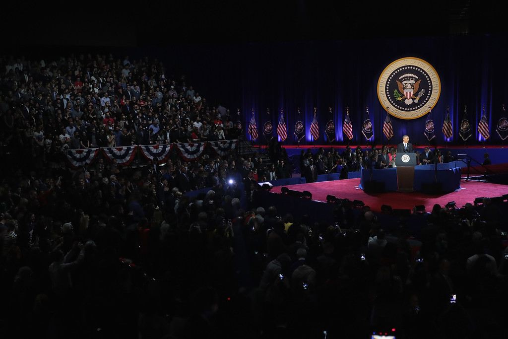 . CHICAGO, IL - JANUARY 10:  President Barack Obama delivers a farewell speech to the nation on January 10, 2017 in Chicago, Illinois. President-elect Donald Trump will be sworn in the as the 45th president on January 20.  (Photo by Scott Olson/Getty Images)