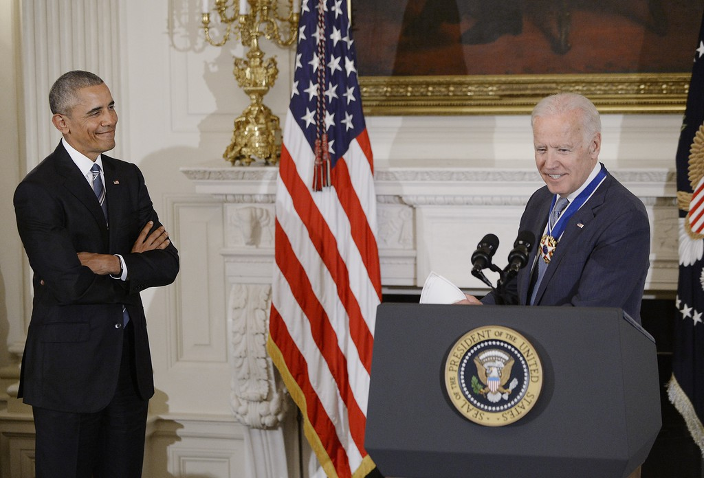 . WASHINGTON, DC - JANUARY 12:  (AFP OUT) Vice-President Joe Biden speaks after he received from President Barack Obama the Medal of Freedom during an event  in the State Dinning room of the White House, January 12, 2017 in Washington, DC. (Photo by Olivier Douliery-Pool/Getty Images)