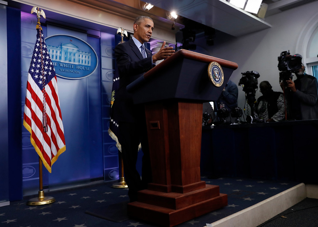 . President Barack Obama speaks during his final presidential news conference, Wednesday, Jan. 18, 2017, in the briefing room of the White House in Washington. (AP Photo/Carolyn Kaster)