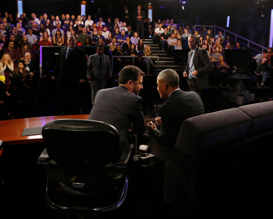 ". This photo provided by ABC shows guest, President Barack Obama, right, and host Jimmy Kimmel during the taping of the television show, ""Jimmy Kimmel Live!,\"" in the Hollywood section of Los Angeles, Monday, Oct. 24, 2016.  (Randy Holmes/ABC via AP)"