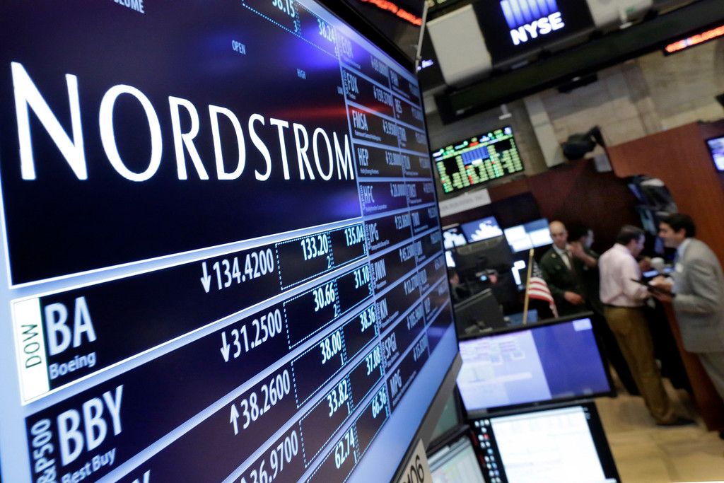 . FILE - In this May 13, 2016 file photo, the Nordstrom logo is displayed above the post where it trades on the floor of the New York Stock Exchange in New York. Nordstrom shares sunk after President Trump tweeted that the department store chain had treated his daughter Ivanka �so unfairly� when it announced last week that it would stop selling Ivanka Trump�s clothing and accessory line.  (AP Photo/Richard Drew, File)