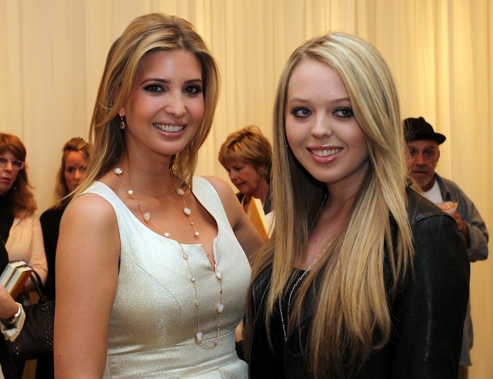 . CANOGA PARK, CA - FEBRUARY 17:  Ivanka Trump (L) and her half sister Tiffany Trump attend the Launch of Ivanka\'s Spring 2011 Lifestyle Collection of Footwear at the Topanga Nordstrom on February 17, 2011 in Canoga Park, California.  (Photo by Frederick M. Brown/Getty Images)