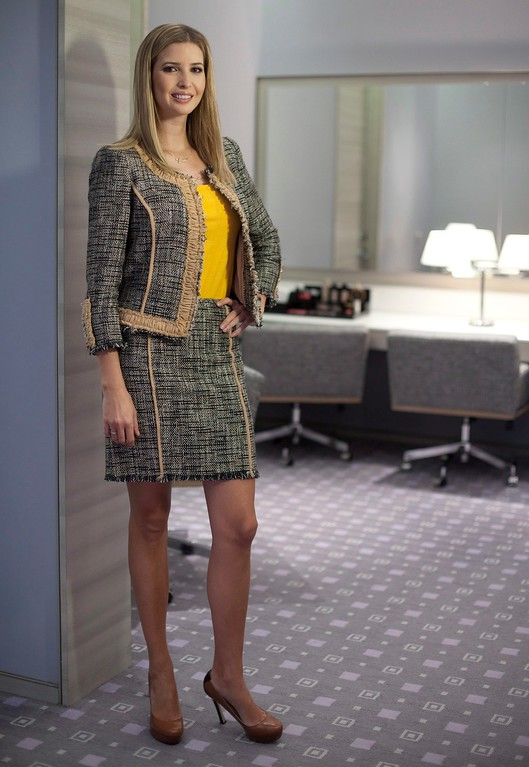 . FILE - In this March 6, 2015 file photo, Ivanka Trump models an outfit following an interview to promote her clothing line in Toronto. Nordstrom said Thursday, Feb. 2, 2017,  it will stop selling Ivanka Trump clothing and accessories. The Seattle-based department store chain said the decision was based on the sales performance of the first daughter\'s brand. (Pawel Dwulit/The Canadian Press via AP)