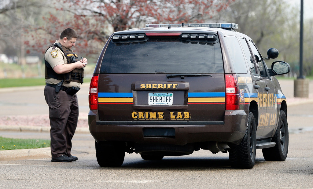 . A crime lab vehicle enters Paisley Park, the home of singer Prince, Thursday, April 21, 2016 in Chanhassen, Minn. Prince died at the home, Thursday, at the age of 57.  (AP Photo/Jim Mone)
