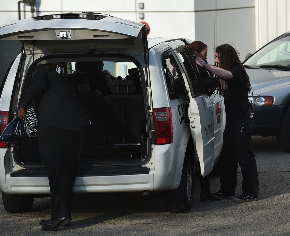 . Guests leave following a memorial service for music legend Prince at the Paisley Park compound April 23, 2016 in Minneapolis, Minnesota.  Family, friends and musicians attended the service after the remains of Prince were cremated before being placed in a private location. ( MARK RALSTON/AFP/Getty Images)
