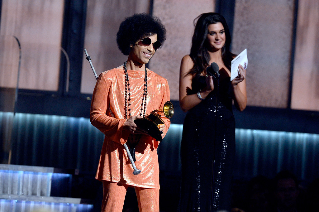 . LOS ANGELES, CA - FEBRUARY 08:  Recording artist Prince speaks onstage during The 57th Annual GRAMMY Awards at the at the STAPLES Center on February 8, 2015 in Los Angeles, California.  (Photo by Kevork Djansezian/Getty Images)